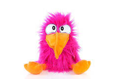 Funny pink bird puppet. Over white background Royalty Free Stock Photos