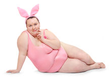 Funny Pink Bunny. Royalty Free Stock Photo