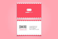 Funny Pink Business Card Design Template Stock Photo