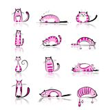 Funny pink cats collection for your design Royalty Free Stock Images