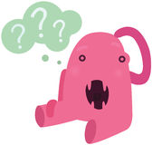 Funny Pink Confused Monster Royalty Free Stock Photo