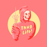 Funny pink death. Funny pink pop art death. Vector illustration Stock Illustration