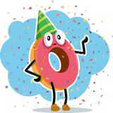 Birthday Party Donut Celebrating with Confetti Royalty Free Stock Image