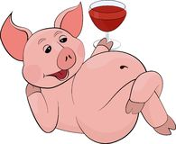 Funny pink drinking lying down, red juice or wine in a glass goblet. Funny pink lying and drinking red juice or wine in a glass goblet vector illustration