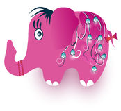 Funny pink elephant. On white Royalty Free Stock Photography