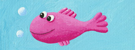 Funny pink fish. Acrylic illustration of funny pink fish Royalty Free Stock Photos
