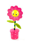 Funny pink flower. Single wooden flower on white background Royalty Free Stock Photos