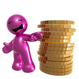 Funny pink icon with gold coins Stock Photos