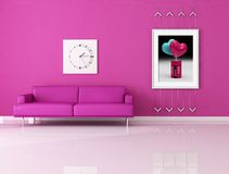 Funny pink living room Stock Photography