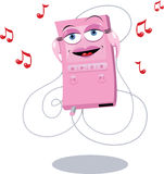 Funny Pink Mp3 Player. A  cartoon representing a funny mp3 player Royalty Free Stock Images