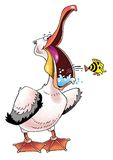 Funny pink Pelican beak singing actor paws. Humor black tail  artist figure crest cartoon fish Royalty Free Stock Photo