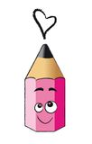 Funny pink pencil. Illustration of funny pink pencil in cartoons style. This character is suitable to make your scrapbook, cards or web site Stock Photo