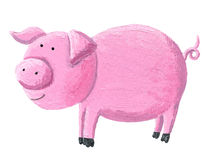 Funny pink pig. Acrylic illustration of funny pink pig Stock Photo