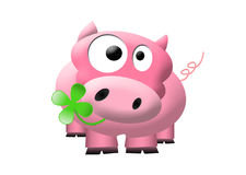 Funny pink pig. Illustration of cute pink pig with a cloverleaf in his mouths Stock Photos