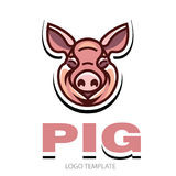 Funny pink pig. Funny smiling pink pig - icon or sign logo template Royalty Free Stock Photos