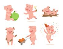Funny pink pigs playing games. Cartoon pig fun and smile, piglet drawing characters. Vector illustration Royalty Free Stock Image