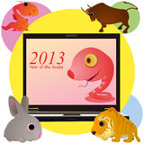 Funny pink snake on the screen of notebook and ani. Funny pink snake on the screen of notebook and four animals Royalty Free Stock Images