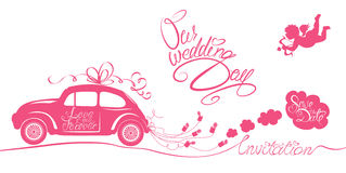 Funny pink wedding card with retro car dragging cans, angel and Royalty Free Stock Photos