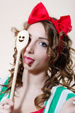 Funny pinup woman showing tongue Stock Photo