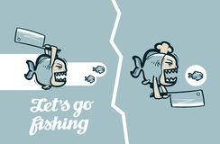Funny piranha fish. vector illustration Royalty Free Stock Photos