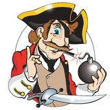 Funny pirate. Make to smoking from fuse of bomb vector illustration