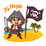 Funny Pirate Boy with Sword Jolly Roger Stock Photography