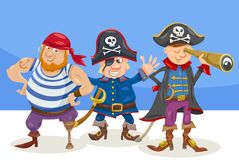 Funny pirate characters cartoon illustration Stock Image
