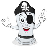 Funny Pirate Condom with Eye Patch. A funny cartoon condom character with pirate hat and eye patch, isolated on white background. Eps file available Stock Images