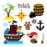 Funny pirate elements isolated on white background Stock Photo