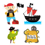 Funny pirate elements isolated on white background Stock Photography