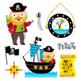 Funny pirate elements isolated on white background Royalty Free Stock Images