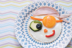Funny pirate fried egg Royalty Free Stock Photography