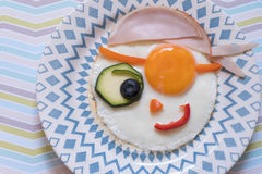 Funny pirate fried egg Royalty Free Stock Photos