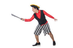 The funny pirate isolated on the white Royalty Free Stock Photo