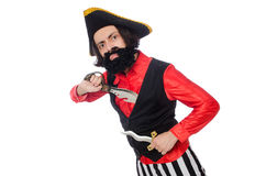 The funny pirate isolated on the white Royalty Free Stock Photos