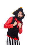 The funny pirate isolated on the white Stock Photos