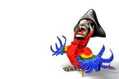 Pirate parrot cartoon. This funny pirate parrot cartoon will be a very cool choice for your illustration or project Stock Images