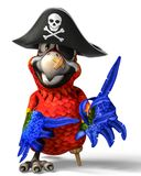 Pirate parrot cartoon. This funny pirate parrot cartoon will be a very cool choice for your illustration or project Royalty Free Stock Photo