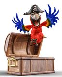 Pirate parrot cartoon. This funny pirate parrot cartoon will be a very cool choice for your illustration or project Royalty Free Stock Image