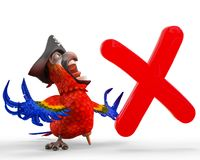 Pirate parrot cartoon. This funny pirate parrot cartoon will be a very cool choice for your illustration or project Stock Image