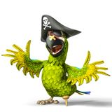 Pirate parrot cartoon. This funny pirate parrot cartoon will be a very cool choice for your illustration or project Royalty Free Stock Photos
