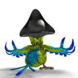 Pirate parrot cartoon. This funny pirate parrot cartoon will be a very cool choice for your illustration or project Stock Photo