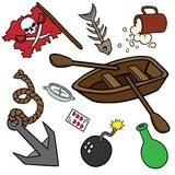 Funny pirate set. Stock Photo