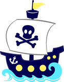 Funny pirate ship cartoon. Funny illustration of pirate ship cartoon isolated on white background Stock Photo