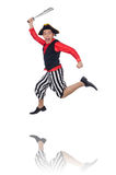 The funny pirate on the white Stock Images