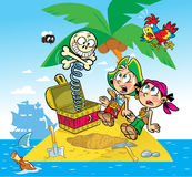 Funny pirates. The illustration shows the fun of children. They play pirates.They found a toy instead of treasure Stock Photography