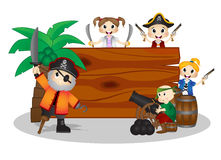 Funny Pirates behind board Stock Photos