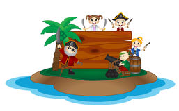 Funny Pirates behind board on Island Royalty Free Stock Image