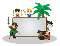 Funny Pirates behind white board Stock Image