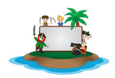 Funny Pirates behind white board on Island Stock Photo